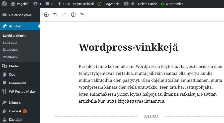 WordPress-vinkkejä